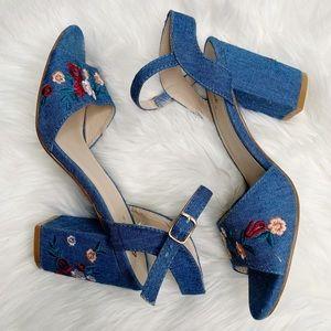 Qupid    denim floral embroidered heel sandals